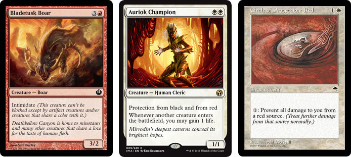 MtG cards Bladetusk Boar, Auriok Champion and Circle of Protection: Red. Image: Wizards of the Coast.