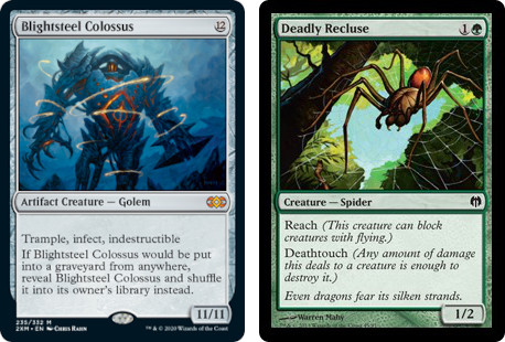 MtG cards Blightsteel Colossus and Deadly Recluse. Image: Wizards of the Coast.