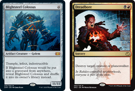 MtG cards Brightsteel Colossus and Dreadbore. Image: Wizards of the Coast.