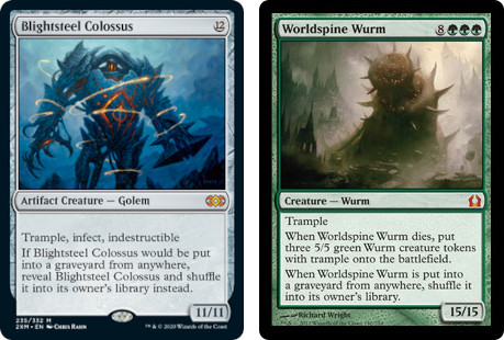 MtG cards Brightsteel Colossus and Worldspine Wurm. Image: Wizards of the Coast.
