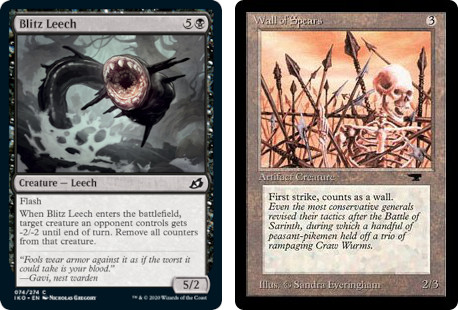 MTG cards Blitz Leech and Wall of Spears. Image: Wizards of the Coast