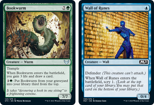 MTG cards Bookwurm and Wall of Runes. Image: Wizards of the Coast