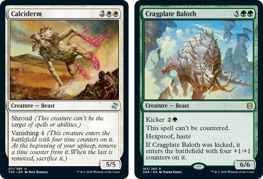MtG cards Calciderm and Gragplate Baloth. Image: Wizards of the Coast.