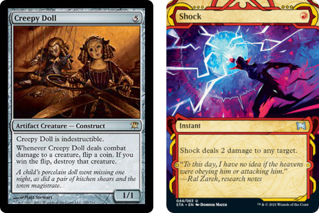 MtG cards Creepy Doll and Shock. Image: Wizards of the Coast.