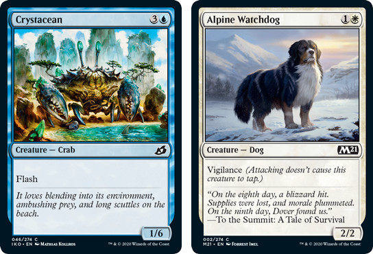 MtG cards Crystcean and Alpine Dog. Image: Wizards of the Coast.