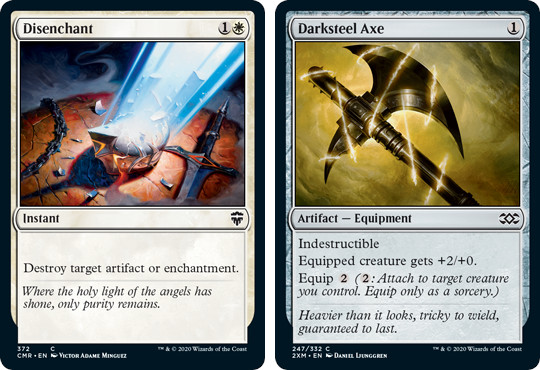 MtG cards Disenchant and Darksteel Axe. Image: Wizards of the Coast.