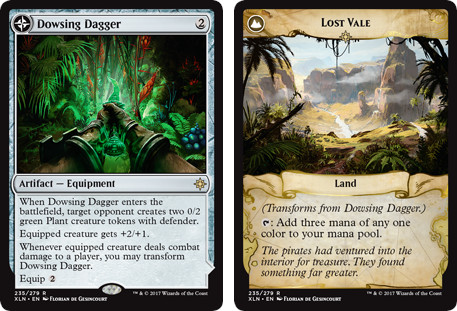 MTG cards Dowsing Dagger and Lost Vale. Image: Wizards of the Coast