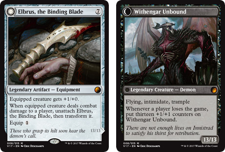 MtG cards Elbrus, the Binding Blade and Withengar Unbound. Image: Wizards of the Coast.