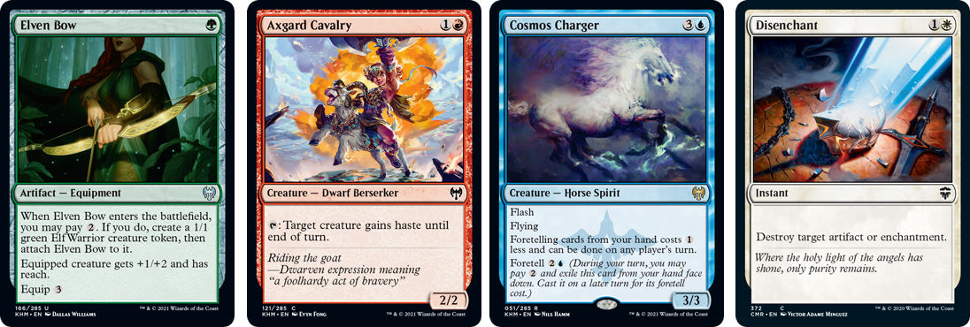 MTG cards Elven Box, Axgard Cavalry, Comos Charger and Disenchant. Images: Wizards of the Coast.