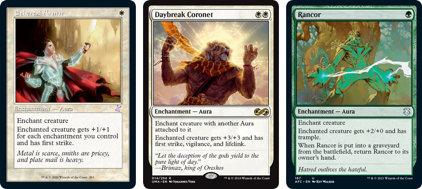 MtG cards Ethereal Armor, Daybreak Coronet and Rancor. Image: Wizards of the Coast.