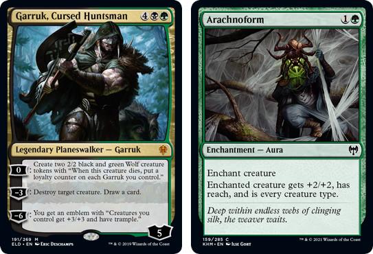 MtG cards Garruk, Cursed Huntsman and Arachnoform. Image: Wizards of the Coast.
