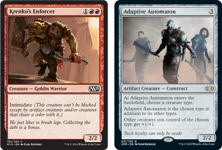 MtG cards Krenko's Enforcer and Adaptive Automaton. Image: Wizards of the Coast.