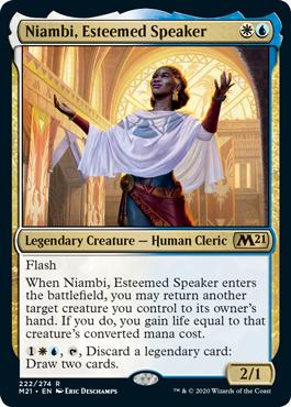 MtG card Niambi, Esteemed Speaker. Image: Wizards of the Coast.