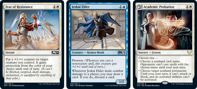 MTG cards Feat of Resistance, Jeskai Elder and Academic Probation. Image: Wizards of the Coast