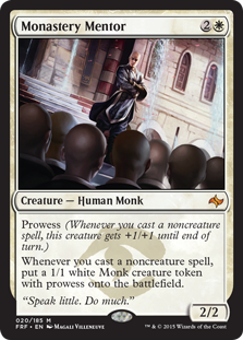 MTG card Monastery Mentor. Image: Wizards of the Coast