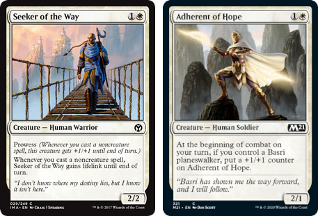 MTG cards, Seeker of the Way and Adherent of Hope. Image: Wizards of the Coast