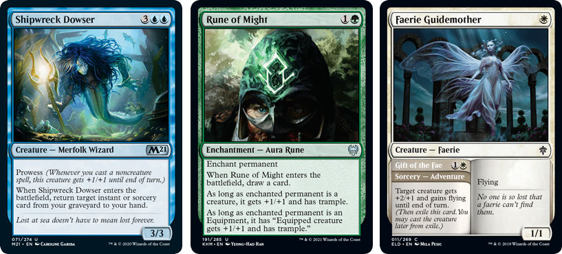 MTG cards Shipwreck Dowser, Rune of Might and Faerie Guidemother. Image: Wizards of the Coast