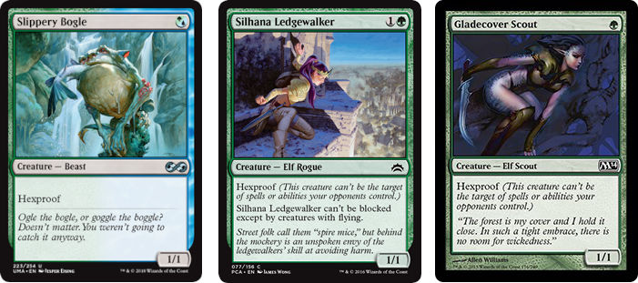 MtG cards Slippery Bogle, Silhana Ledgewalker and Gladecover Scout. Image: Wizards of the Coast.