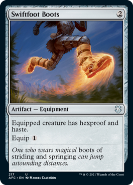 MtG card Swiftfoot Boots. Image: Wizards of the Coast.