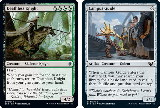 MtG cards Deathless Knight and Campus Guide. Image: Wizards of the Coast.