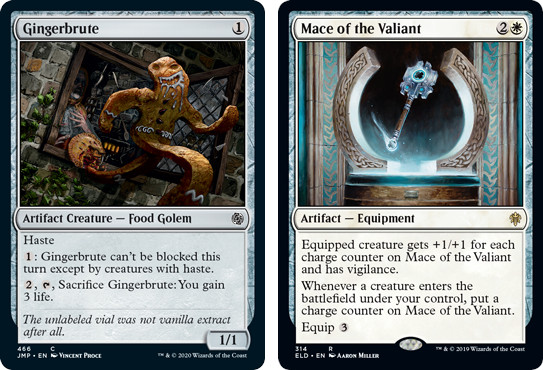 MtG cards Gingerbrute and Mace of the Valiant. Image: Wizards of the Coast.