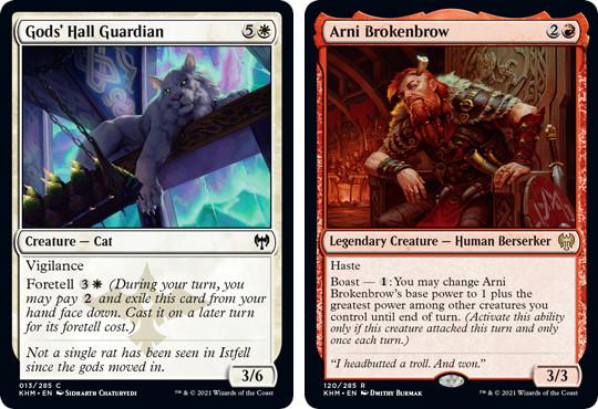 MtG cards Gods' Hall Guardian and Arni Brokenbrow. Image: Wizards of the Coast.