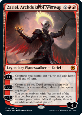 MtG card Zariel, Archduke of Avernus. Image: Wizards of the Coast.
