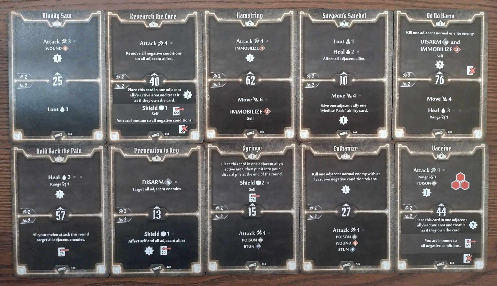 Sawbones level 7 deck cards