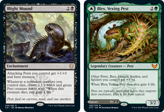 MTG card Blight Mound, Alex, Vexing Pest. Image: Wizards of the Coast.