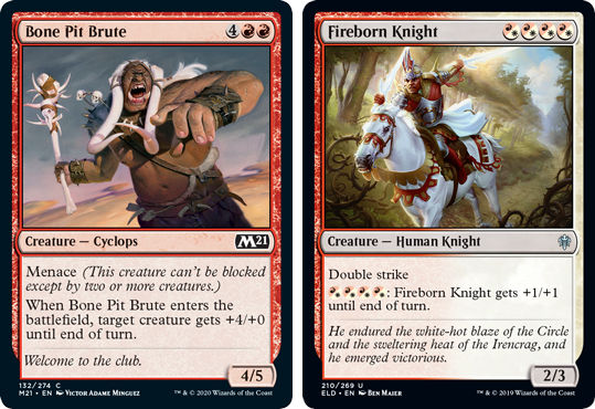 MTG card Bone Pit Brute and Fireborn Knight. Image: Wizards of the Coast.