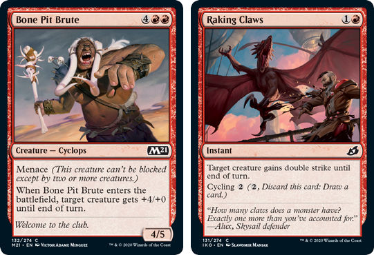 MTG card Bone Pit Brute and Raking Claws. Image: Wizards of the Coast.