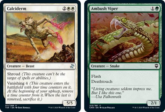 MTG cards Calciderm and Ambush Viper. Image: Wizards of the Coast.