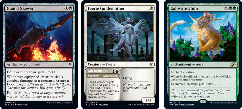 MTG card Giant's Skewer, Faerie Guidemother and Colossification. Image: Wizards of the Coast.