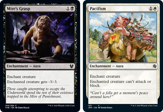 MTG cards Mire's Grasp and Pacifism. Image: Wizards of the Coast.