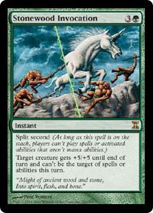 MTG card Stonewood Invocation. Image: Wizards of the Coast.