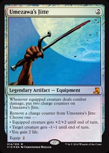MTG card Umezawa's Jitte. Image: Wizards of the Coast.
