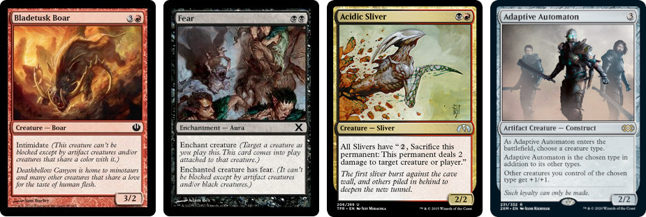Bladetusk Boar, Fear, Acidic Sliver and Adaptive Automaton MTG cards. Images: Wizards of the Coast.