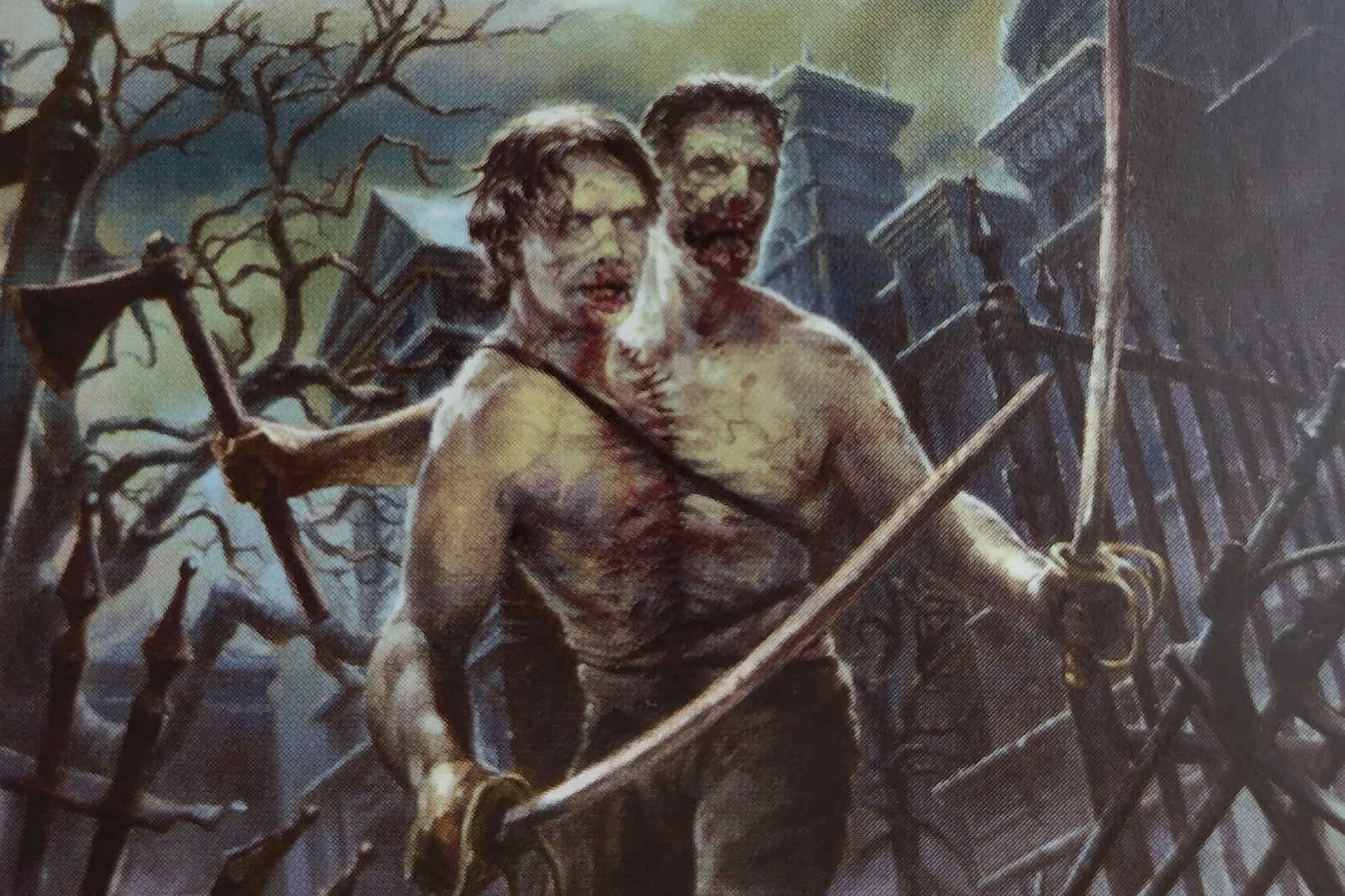 Two-Headed Zombie MTG card with Menace strike. Image: Wizards of the Coast. Artist: Josh Hass.