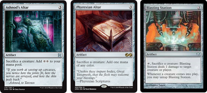 MTG cards Ashnod's Altar, Phyrexian Alter and Blasting Station. Image: Wizards of the Coast.