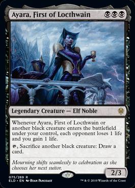 MTG card Ayara, First of Locthwain. Image: Wizards of the Coast.