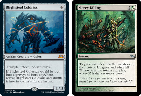 MTG cards Blightsteel Colossus and Mercy Killing. Image: Wizards of the Coast.