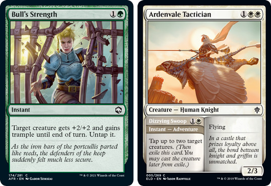 MTG cards Bull's Strength and Ardenvale Tactician (Dizzying Swoop). Image: Wizards of the Coast.