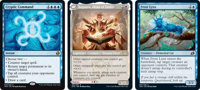 MTG cards Cryptic Command, Augusta, Dean or Order and Frost Lynx. Image: Wizards of the Coast.