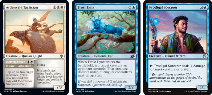 MTG cards Ardenvale Tactician (Dizzying Swoop), Frost Lynx and Prodigal Sorcerer. Image: Wizards of the Coast.