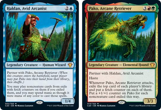 MTG cards Haldan, Avid Arcanist and Pako, Arcane Retriever. Image: Wizards of the Coast.