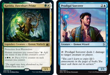 MTG cards Katilda, Dawnhart Prime and Prodigal Sorcerer. Image: Wizards of the Coast.