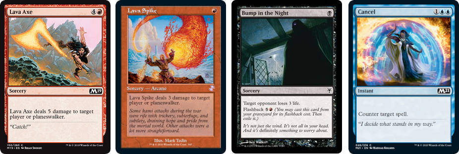 MTG cards Lava Axe, Lave Spike, Bump in the Night and Cancel. Image: Wizards of the Coast.