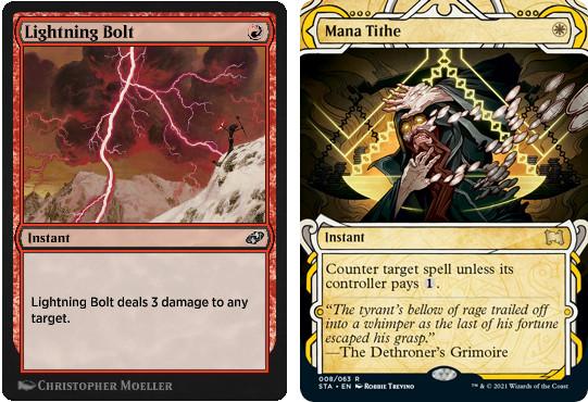 MTG cards Lightning Bolt and Mana Tithe. Image: Wizards of the Coast.