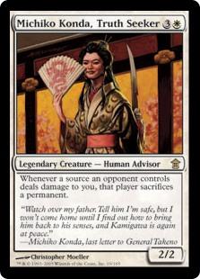 MTG card Machiko Konda, Truth Seeker. Image: Wizards of the Coast.