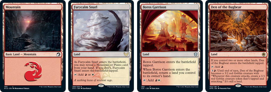 MTG cards Mountain, Furycalm Snarl, Boris Garrison and Den of the Bugbear. Image: Wizards of the Coast.